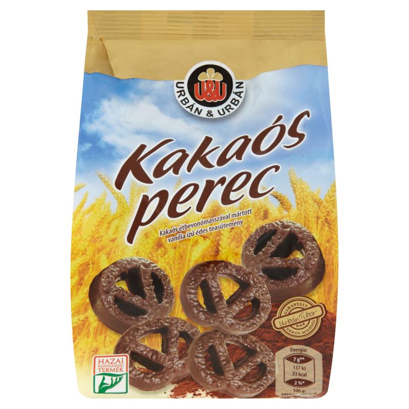 Urbán Kakaós perec Kakaós étbevonómasszával mártott vanília ízű édes teasütemény 160g