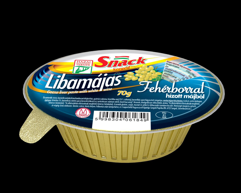 """""""Snack"""" Libamájas fehérborral hízott májból 70g"""