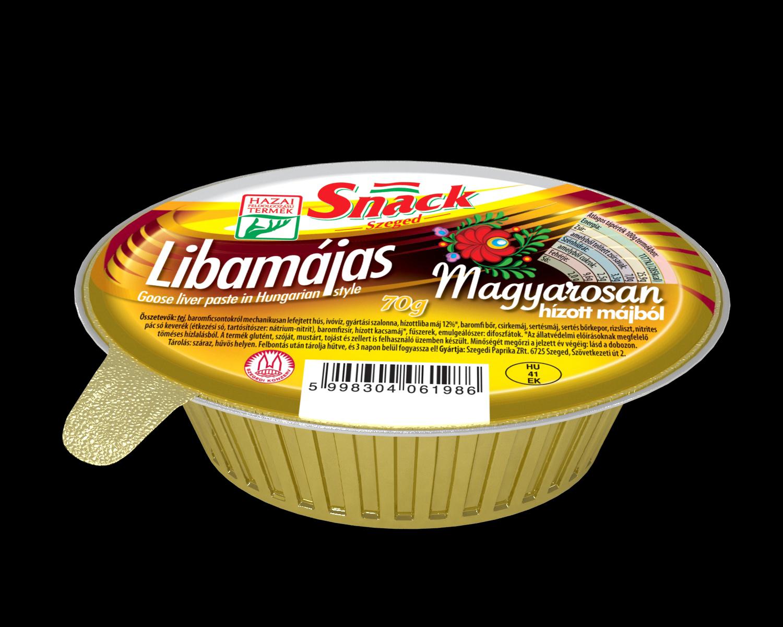 """""""Snack"""" Libamájas magyarosan hízott májból 70g"""