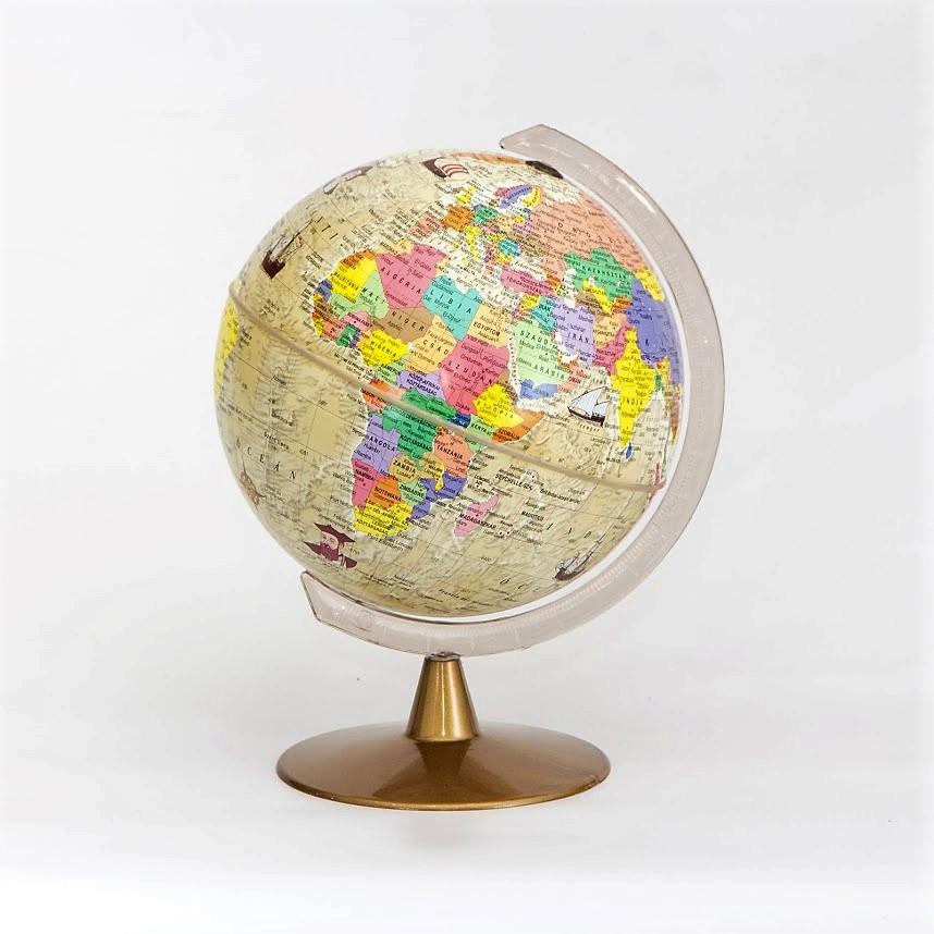 16 cm átmérőjű antik jellegű földgömb