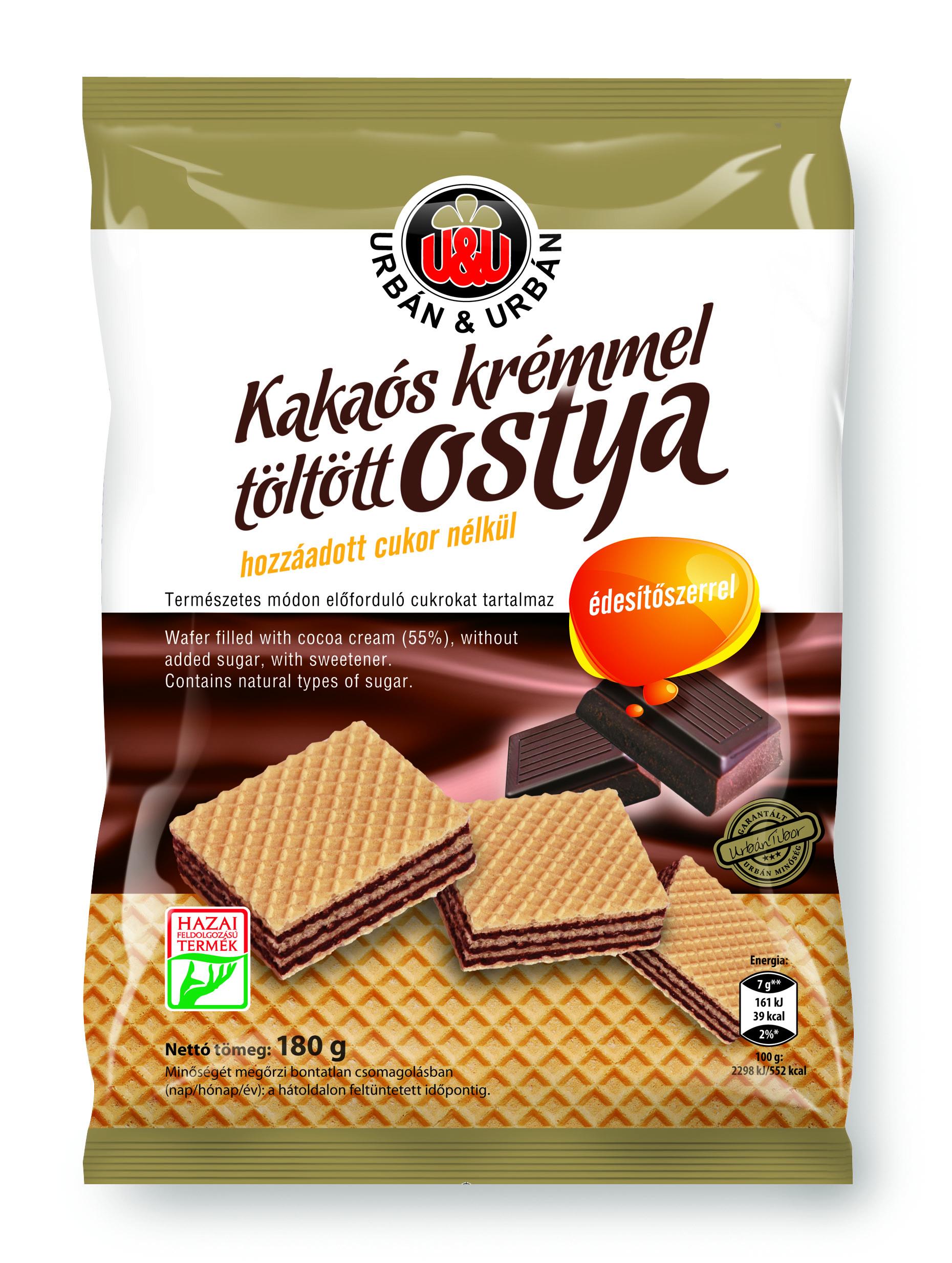 Urbán Mini vanília ízű karika Kakaós étbevonómassszával részben mártott vanília ízű édes teasütemény 160g